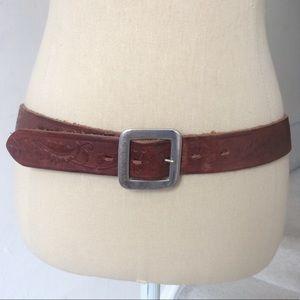 Ralph Lauren Genuine Leather Vine Etched Belt